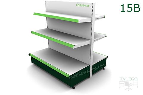 Modulo Gondola con bandejas en blanco y verde