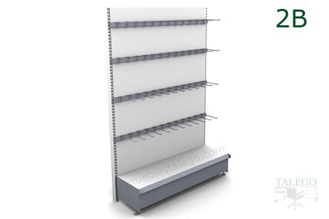 Estanteria de estanteria comercio en gris y blanco para ganchos
