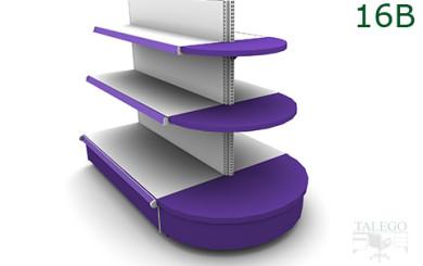 Tramo recto de gondola con terminal redondo en color lila y blanco