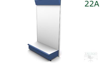 Estanteria de comercio diafana con visera informativa en azul