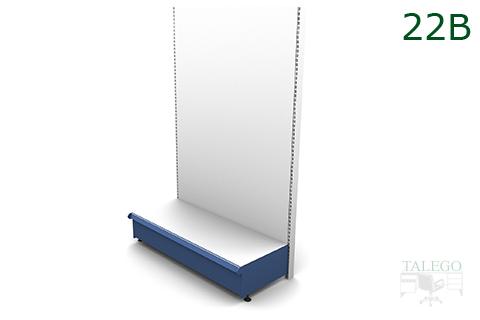 Estanteria de comercio diafana con bandeja inferior y resto con fondos lisos en blanco y azul