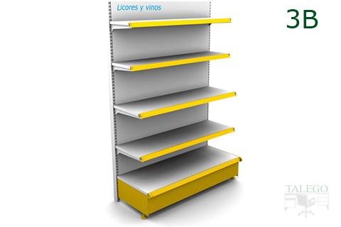 Modulo estanteria de comercio blanca con zocalo y portaprecios amarillos