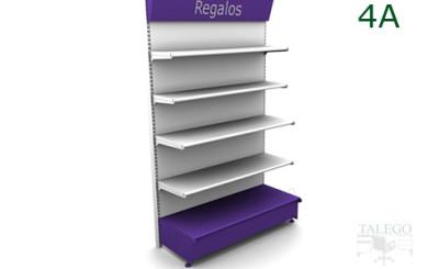 Modulo estanteria de comercio con bandejas decorativas terminado en blanco y lila