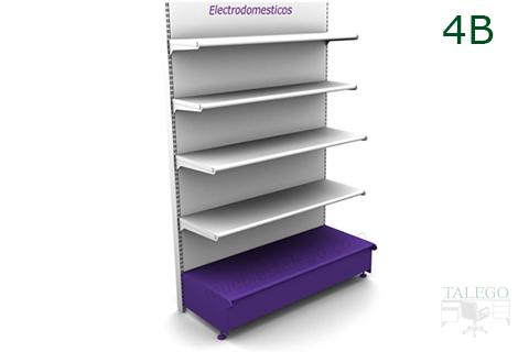 Modulo de estanteria con cinco bandejas decorativas en blanco y lila