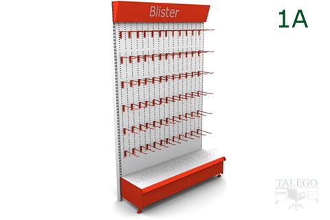 Modulo estanteria para ganchos con visera informativa en naranja y blanco
