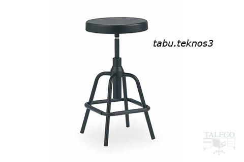 Taburete tekno con asiento tapizado y sin respaldo