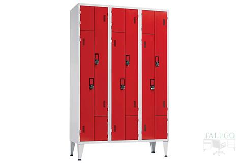 Taquilla con puertas en L de tres cuerpos seis puertas en rojo
