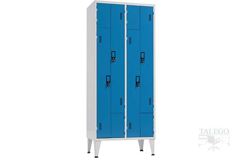 Taquilla con puertas en L de dos cuerpos cuatro puertas en azul y gris