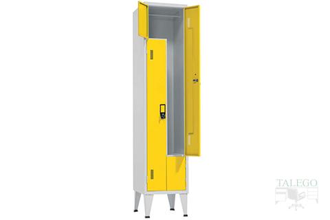 Interios Taquilla en L de un cuerpo dos puertas en amarillo
