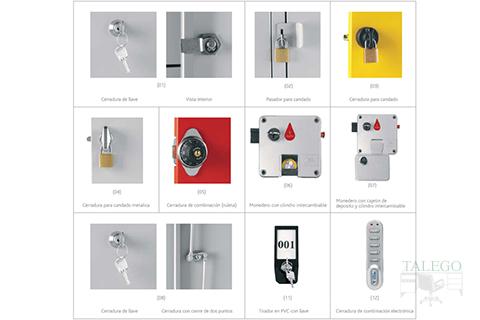 Diferentes tipos de cerraduras que se pueden instalar en las consignas de vestuario