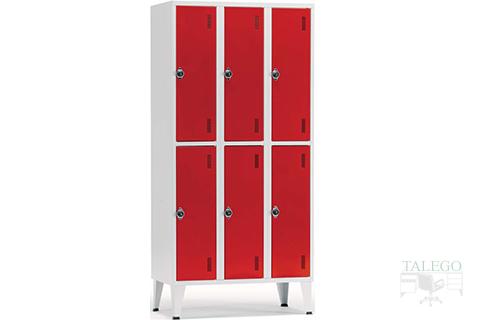 Consgna taquilla de seis puertas en rojo con envoltura gris