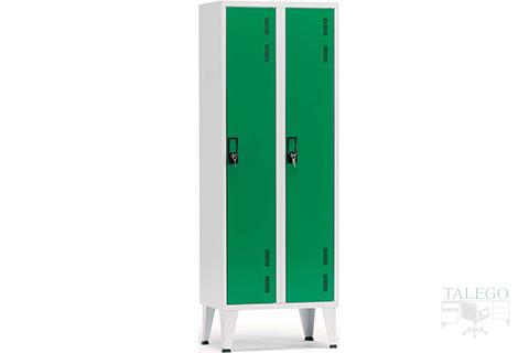 Taquilla de una puerta en dos cuerpos verde y gris