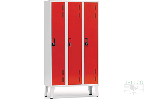 Taquilla de 1 puerta en tres cuerpos roja y gris
