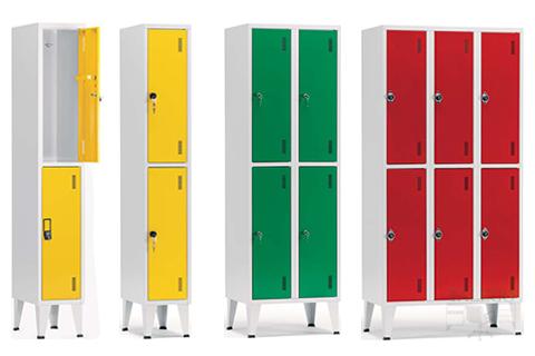 Composicion de taquillas de dos puertas en varios grupos y colores
