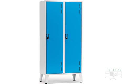 Taquilla ropero de 2 puertas enteras en azul combinado con gris