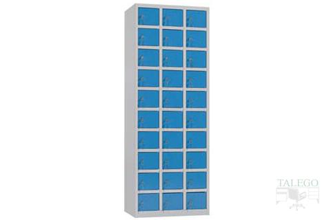 Casillero de treinta puertas en azul y gris