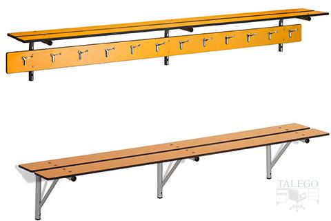 Detalle de perchas para banco de vestuario en amarillo fenólico