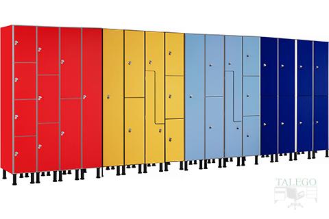 Composición de taquillas con diferentes colores en fenolico