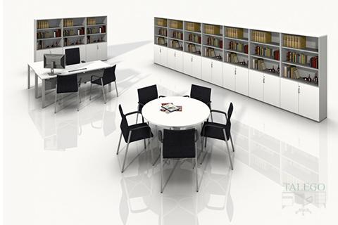Mesa de Juntas redonda blanca y armarios para archivos