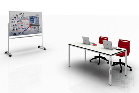 Mesa de Oficina y pizarra con ruedas para conferencias