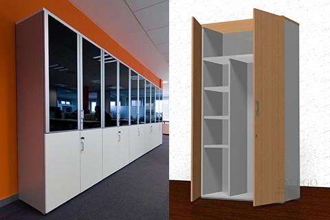 Interior de armario modular con división interior