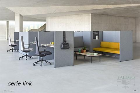 Biombos divisorias modelo link en gris para puestos de trabajo