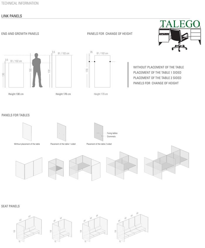 Medidas y divisorias de oficinas modelo link