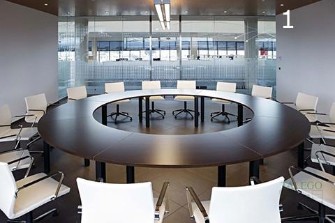 Mesa redonda realizada con mesas curvas de la serie cool
