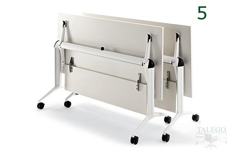 Mesas trama abatidas y con ruedas en color blanco