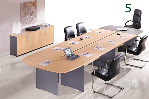 Mesa de Juntas ovalada en erable y estructura aluminizado