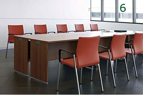 Mesas serie ofimat modulares unidas para multipuesto