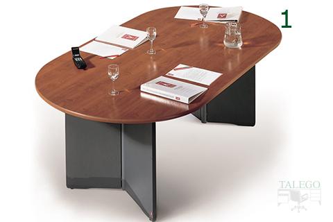 Mesa de juntas ofimat en nogal y aluminio