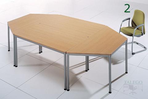 Mesa dynamic octogonal hecha con tres mesas individuales