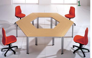 Mesa de juntas exagonal realizada con mesas dynamic
