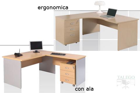 Mesa de la serie dado con forma ergonomica y con ala auxiliar
