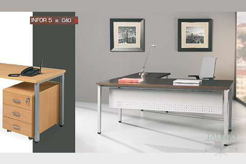 Mesa despacho ch infor con pata metalica modelo c40