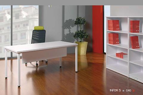 mMesa oficina ch infor con pata en tubo modelo r50 en blanco