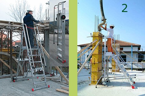 Ejemplo de trabajo en construccion con escalera sm con ruedas