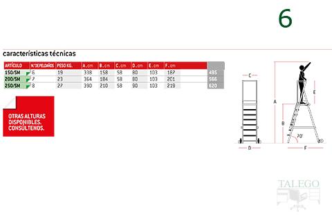 Medidas y caracteristicas de la escalera sm de almacen