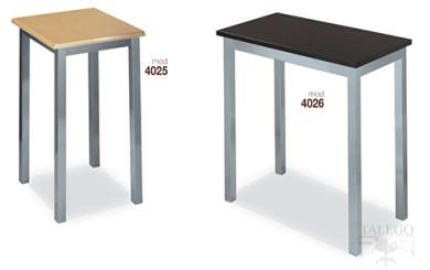 Mesas altas modelo 4025 y 4026 metalica con tablero de madera