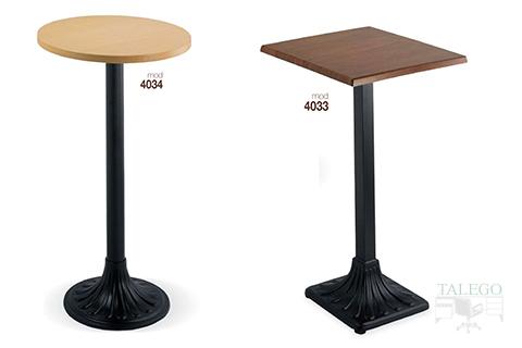 Mesas altas modelo 4034 y 4033 metalica con tablero de madera