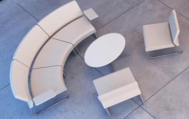 Sala de espera con sofas curvos y rectos del modulo do slastic