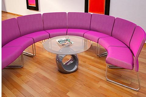 Modulos de espera modelo do slastic formando semicirculo en tela lila
