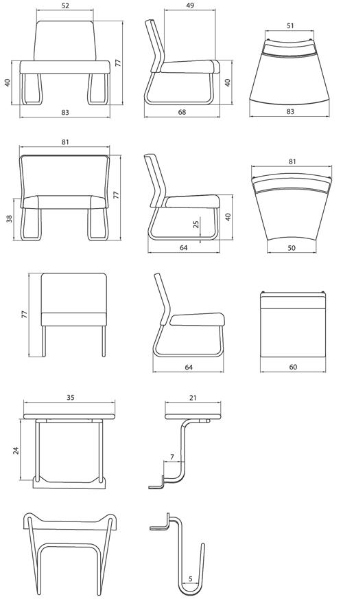 Medidas y diseño de los sofas de espera do slastic