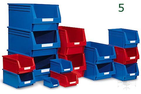 GAvetas de plástico en color azul y rojo
