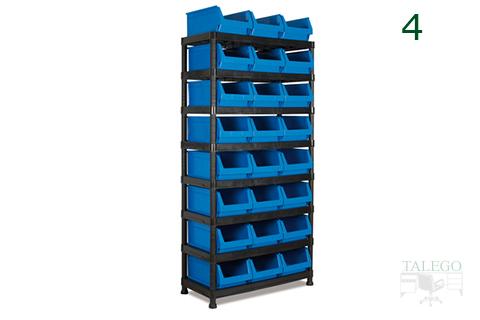 Estanteria de resina negra con gavetas de plástico azul