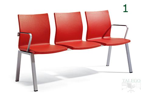 Bancada de tres asientos modelo ber uma en rojo con tres asientos