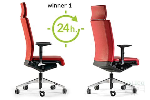 Vista lateral de silla ber winner tapizada en rojo