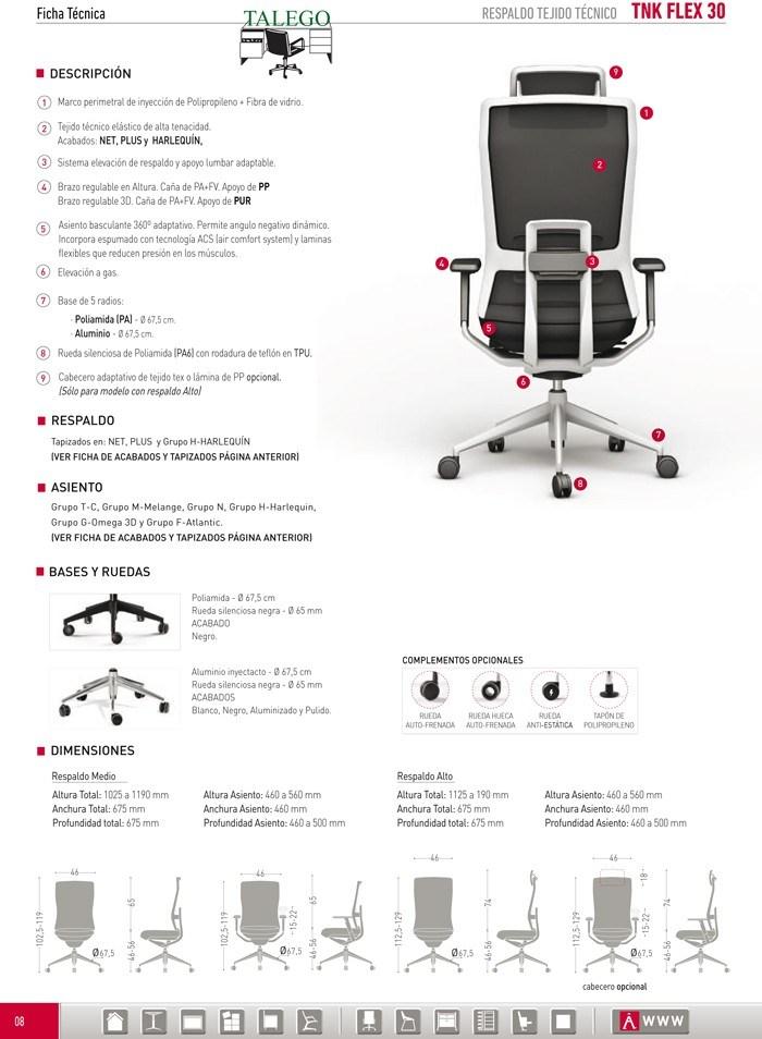 Descripción y medidas del sillón Dirección Ber Tnk Flex