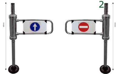 Vista de banderolas metalicas diseñadas en dos colores
